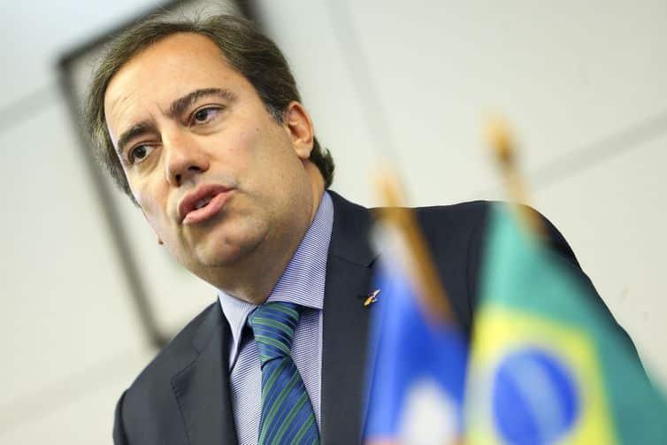 O presidente da Caixa Econômica Federal, Pedro Guimarães, durante entrevista coletiva.